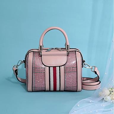 Žene Torbe PU Tote torbica Patent-zatvarač / Reljefni uzorak Crn / Blushing Pink / Bijela