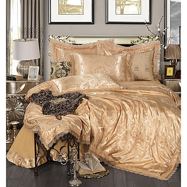 ensembles housse de couette luxe polyester jacquard 4. Black Bedroom Furniture Sets. Home Design Ideas