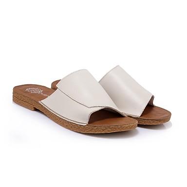 Women's Shoes Nappa Leather Summer Comfort Slippers & / Flip-Flops Low Heel White / & Beige 219c7c