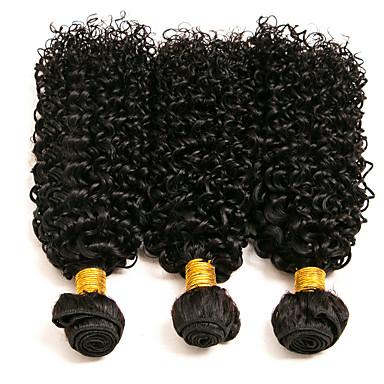 baratos Extensões de Cabelo Natural-3 pacotes com fechamento Cabelo Mongol Kinky Curly 8A Cabelo Humano Peça para Cabeça Extensor Cabelo Bundle 8-24 polegada Preta Côr Natural Tramas de cabelo humano Natural Adorável Melhor qualidade