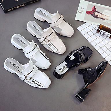 Verano Piezas Tacón Dos Mujer PU y Negro 06837214 Cuadrado y Zapatos D'Orsay Blanco Zuecos pantuflas Beige wXvXYEx4