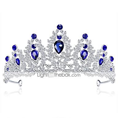 voordelige Dames Sieraden-Dames Formeel Elegant Strass Verzilverd Legering Kubieke Zirkonia Tiara'S voorhoofd Crown Bruiloft Feest