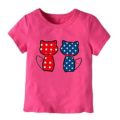 baratos Blusas para Meninas-Bébé Para Meninas Básico Sólido Manga Curta Camiseta Azul Claro