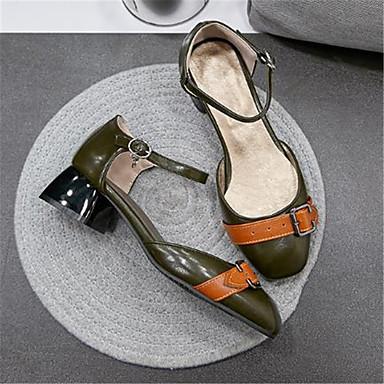 Talon Talons Bottier 06792959 Escarpin Polyuréthane Chaussures Basique rond à Chaussures Bout Beige Femme Vert Printemps été nawq48zA