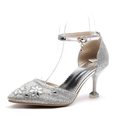 Žene Cipele PU Ljeto Udobne cipele Cipele na petu Stiletto potpetica Krakova Toe Štras Zlato / Pink / Crvena / Zabava i večer
