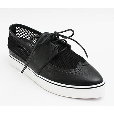 Nappa Cuir Talon Femme Printemps Noir 06794911 Oxfords Blanc Confort Chaussures Plat 7w5E5qp
