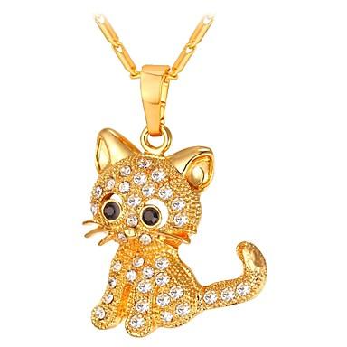 Žene Long Ogrlice s privjeskom - Mačka Moda Zlato, Pink 55 cm Ogrlice Jewelry 1pc Za Dar, Dnevno