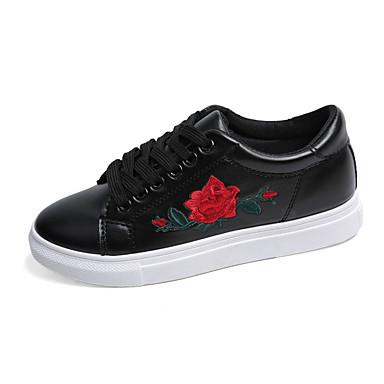 Žene Cipele Eko koža Proljeće Udobne cipele Sneakers Ravna potpetica Okrugli Toe Cvijet od satena Obala / Crn