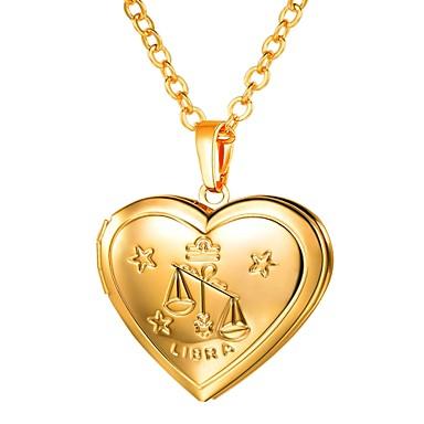 billige Mote Halskjede-Dame Anheng Halskjede Lang Zodiac Indgraveret Medaljong Vekten damer Romantikk Mote Kobber Gull Sølv 55 cm Halskjeder Smykker 1pc Til Gave Daglig