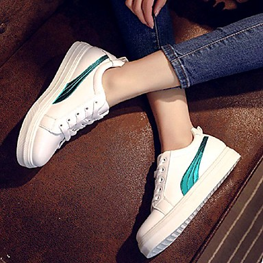 Verde Zapatillas Primavera deporte Rojo Mujer Dedo A Rayas Tacón Zapatos redondo de Plano 06783401 Cuero Confort Negro Sintético 1wxXCtnUq6