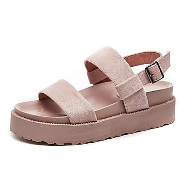 Žene Cipele Brušena koža Ljeto Udobne cipele Sandale Creepersice Crn / Pink