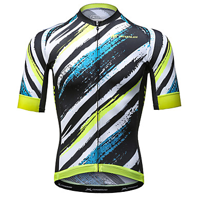 Mysenlan Men's Short Sleeve Cycling Jersey - Yellow+Blue Bike Jersey Polyester / Expert / Advanced Sewing Techniques / Italy Imported Ink / Breathable Armpits