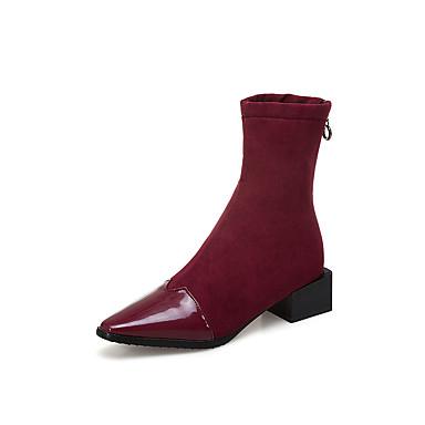 à Demi Cuir Bottes Faux Botte Bout hiver Automne Heel Femme Bottine Mode Beige Rouge Chaussures Noir pointu Bottes la 06827932 Block qEwCYxZ