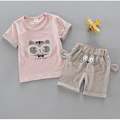 Dijete koje je tek prohodalo Djevojčice Osnovni Geometrijski oblici / Print Kratkih rukava Pamuk Komplet odjeće Blushing Pink 100