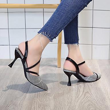 Tacón 06781830 Pump Negro Básico Sintético Puntiagudo Azul Sandalias Dedo Carrete Verano Zapatos Mujer Amarillo Cuero q0Aff6