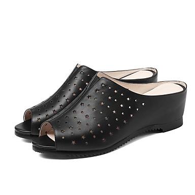 Eté semelle Femme Beige de Chaussures Hauteur Nappa Cuir Noir Sandales compensée 06794834 Confort U8tZqHx8