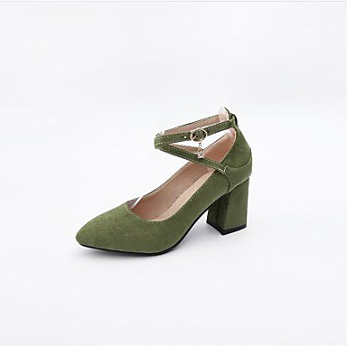 Women's Shoes Suede Summer Mary Pointed Jane Heels Chunky Heel Pointed Mary Toe Buckle Black / Green / Almond 9d0be3