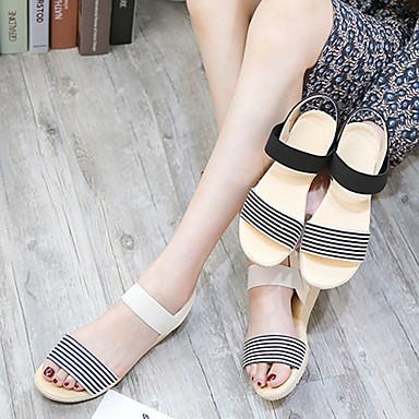 Verano Rayas Tacón 06796937 Beige Talón Mujer Zapatos Hebilla Bajo A PU Descubierto Negro Sandalias EYxqpaU7