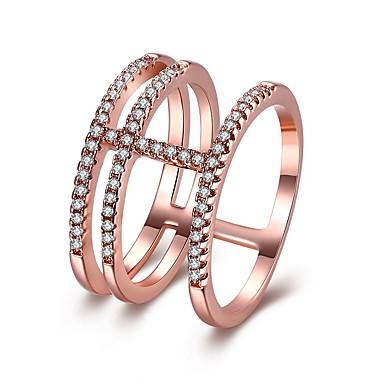 billige Motering-Dame Midi Ring Evigheten Ring vikle ring Kubisk Zirkonium liten diamant 1pc Hvit Rose Gull Kobber Sirkelformet damer Mote Bursdag Aftenselskap Smykker Elegant Kul