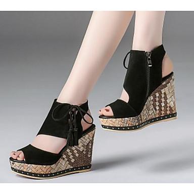 semelle Chaussures Femme Eté Nappa de compensée Chameau Confort Sandales Hauteur Cuir Noir 06794962 8wqqTp
