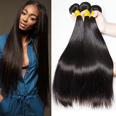 baratos Extensões de Cabelo Natural-3 pacotes Cabelo Malaio Liso Cabelo Natural Remy 100% Remy Hair Weave Bundles Peça para Cabeça Cabelo Humano Ondulado Cabelo Bundle 8-28 polegada Côr Natural Tramas de cabelo humano Sem Cheiros Macio