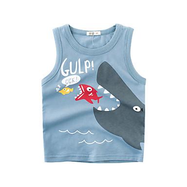 baratos Camisas para Meninos-Infantil Para Meninos Básico Diário Estampado Estampado Sem Manga Padrão Algodão Top e Camisete Azul