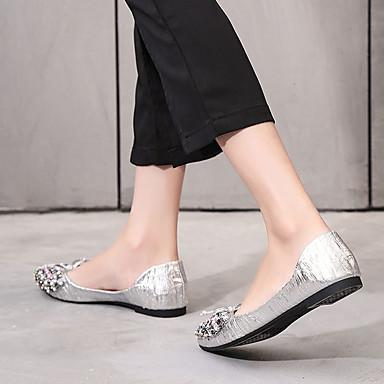 Puntiagudo Plateado Dedo Mujer PU 06811813 Pajarita Verano Tacón Zapatos Negro Plano Confort Bailarinas Gris wqgp7w8