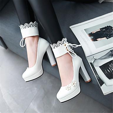 Cheville Polyuréthane Femme Bride 06783086 de rond Chaussures Bout Chaussures Evénement Bottier été Noir Talon Blanc Soirée à Talons Printemps Rose amp; x1rqwY5r