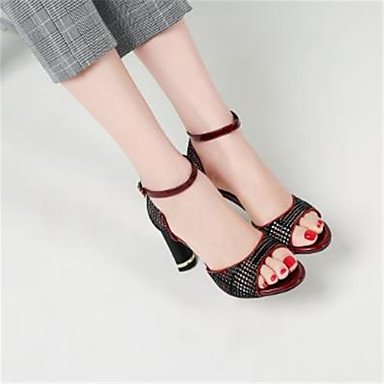 Women's Shoes Sheepskin Spring & Summer Basic Pump Sandals Stiletto / Heel Peep Toe Black / Stiletto Wine 500201