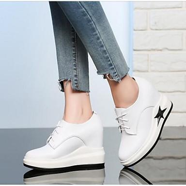 des chaussures en cuir nappa - printemps / été été été confort baskets wedge talon tour toe blanc / noir 7a5fcd