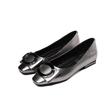 Chaussures 06797105 Noir Plat Cuir Automne Argent Confort Ballerines Nappa Talon Femme aSxwga