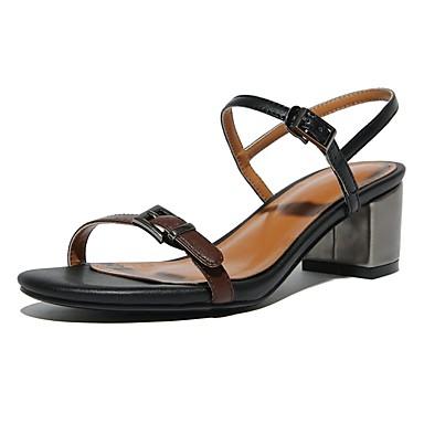 06827495 Confort Nappa Printemps Femme Noir Chaussures Amande Bottier été Sandales Cuir Talon nU77XAPwFx