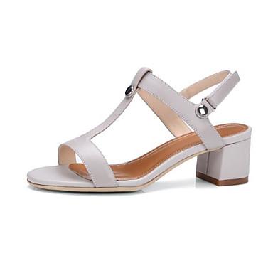 Žene Mekana koža Ljeto Udobne cipele Sandale Kockasta potpetica Otvoreno toe Crn / Sive boje