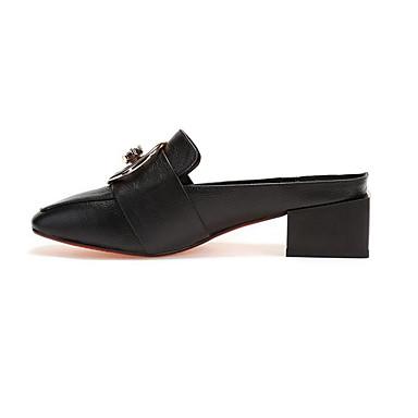 Femme Bout Beige Sabot Noir carré Eté Talon Mules amp; 06801325 Cuir Bottier Confort Chaussures rg7qwzIg