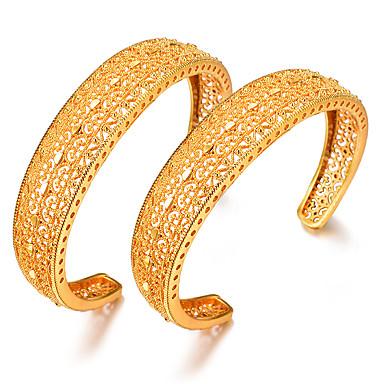 abordables Bracelet-2pcs Bracelet Jonc Manchettes Bracelets Parure Bracelet Femme Classique Plaqué or Créatif dames Luxe Ethnique Bracelet Bijoux Jaune Circulaire pour Soirée Cadeau