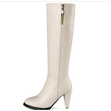 voordelige Dameslaarzen-Dames Laarzen Naaldhak PU Knielaarzen Comfortabel / Modieuze laarzen Herfst winter Zwart / Beige