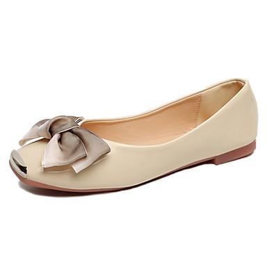 Confort PU Pajarita Negro Mujer Dedo Tacón Bailarinas Zapatos 06837351 Beige Verano cuadrada Plano xO5qtp4
