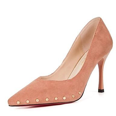 Verano Mujer Puntiagudo Beige Rosa 06832919 Tacón Pump Negro Dedo PU Tacones Básico Zapatos Stiletto FFq1frp