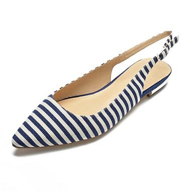 Bout Arrière Confort Chaussures pointu Talon A Coton Bleu Ballerines Bride 06805063 Femme Printemps Plat été Noir IawqH0IP