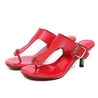 Femme Nappa Eté 06797574 Chaussures Basique Sandales Escarpin Cuir Talon Confort Rouge Aiguille Noir FrqF6E