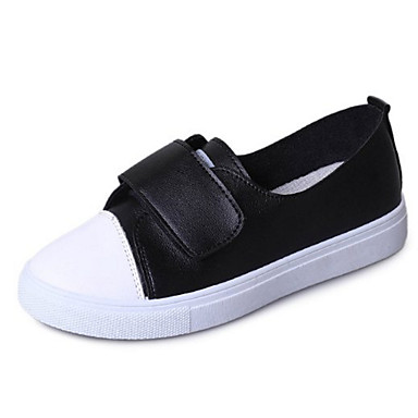 Žene Cipele Eko koža Ljeto Udobne cipele Sneakers Ravna potpetica Okrugli Toe Obala / Crn