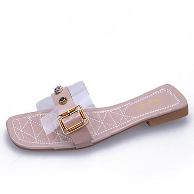Tacón Plano Sandalias Almendra PU Verano PVC Rosa Verde Descubierto Zapatos Mujer 06795426 Talón 4wqA6gx80