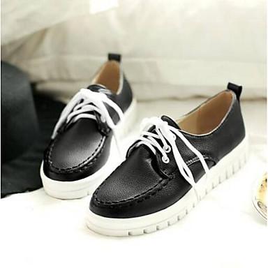 Punta 06797603 Oxfords Mujer Tacón Verano PU Confort cerrada Zapatos Primavera Negro Plano Blanco Beige OXx1px8qw