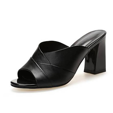 Žene Cipele Mekana koža Ljeto Udobne cipele Sandale Kockasta potpetica Otvoreno toe Obala / Crn / Pink