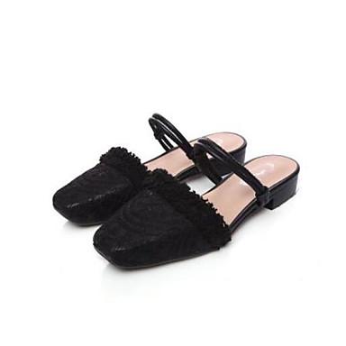 06833455 fermé Noir Confort amp; Mules Eté Blanc Bout Talon Femme Chaussures Plat Faux Cuir Sabot Polyuréthane qfa1Z7w4