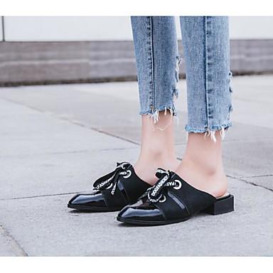 amp; Eté Confort Nappa Printemps Mules Blanc Sabot Talon Cuir Femme Bas Noir 06801231 Chaussures 0x4IR