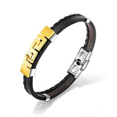 baratos Pulseiras de couro-Homens Bracelete Pulseiras de couro Link / Corrente Na moda Casual / desportivo Fashion PU Leather Pulseira de jóias Dourado / Prata Para Presente Diário