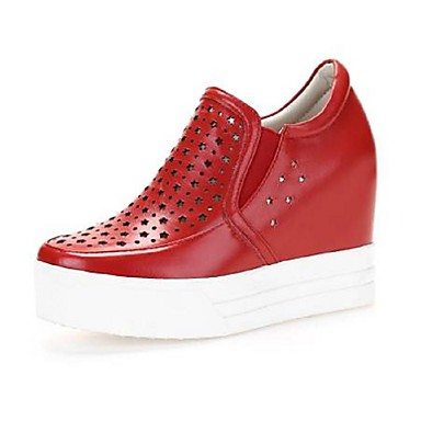 Nappa 06792342 Printemps Confort D6148 Noir et Cuir Chaussures semelle Femme Rouge Blanc Hauteur Mocassins de compensée Chaussons été tTxwUq