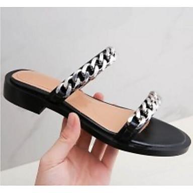 Chaussons amp; Eté Plat Tongs Talon Femme Nappa Confort Cuir Chaussures 06791366 Noir qwUpYxYX4