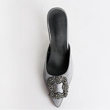 Confort Gris Femme Aiguille Sandales 06775993 Vert Talon Rose Toile Bout Chaussures pointu Strass Eté vqptq